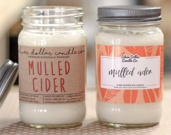 Mulled Apple Cider Scented Mason Jar Candle  16oz Soy Wax Candle  Holiday Gift