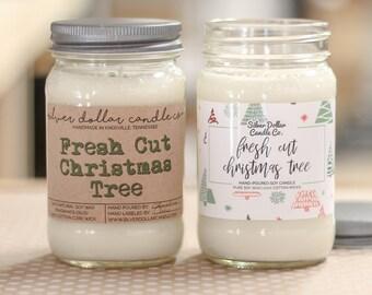 Fresh Cut Christmas Tree   Christmas Candle, 16oz Mason Jar, Christmas for her, Christmas gift idea, Holiday Candle, Winter Home Decor, Fir