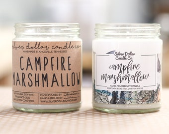 Campfire Marshmallow Scented Candle, Soy Candle, Marshmallow, Handmade Scented Candle, man candle, gift for men, natural candle, mens candle