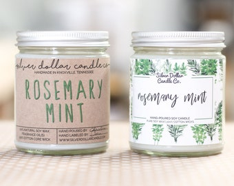 Rosemary Mint Scented Candles, Handmade Scented Candles, Herb Scented Candle, Aromatherapy Candle, Gift for Her, Spring, gift for women