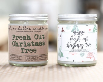 Fresh Cut Christmas Tree | Christmas Scented Candle, Christmas gift, 8oz Soy Candle, Christmas decor, Holiday Candle, Winter Home Decor, Fir