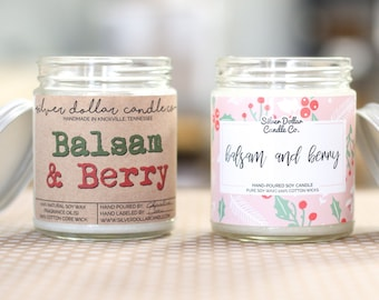 Balsam & Berry 8oz Scented Soy Candle, Holiday Scented Candles, Christmas, Fall Candles, Stocking Stuffer, Christmas Candle, Christmas Gifts