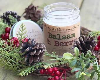 Balsam & Berry 8oz Scented Soy Candle, Holiday Scented Candles, Christmas, Fall Candles, Stocking Stuffers, Christmas Candle,Christmas Gifts