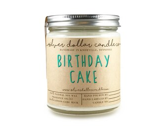 Birthday Cake 8oz Scented Candle Hand Poured Gift Soy Wax Natural Vanilla Cream