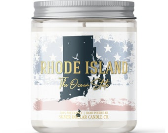 Rhode Island State Candle - Choose Any Scent - Personalized Lid - 8oz - 100% Soy Candle - State Gifts Homesick Moving New Home Scented PA