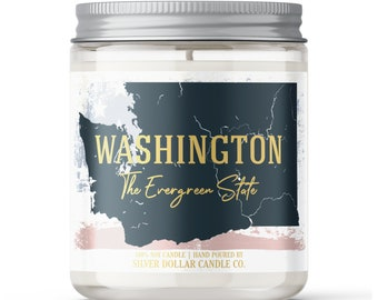 Washington State Candle - Choose Any Scent - Personalized Lid - 8oz - 100% Soy Candle - State Gifts Homesick Moving New Home Scented WA