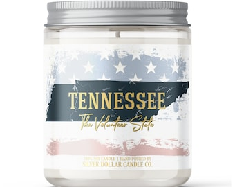 Tennessee State Candle - Choose Any Scent - Personalized Lid - 8oz - 100% Soy Candle - Vols State Gifts Homesick Moving New Home Scented