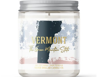 Vermont State Candle - Choose Any Scent - Personalized Lid - 8oz - 100% Soy Candle - State Gifts Homesick Moving New Home Scented VT