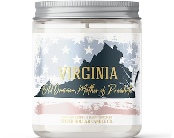 Virginia State Candle - Choose Any Scent - Personalized Lid - 8oz - 100% Soy Candle - State Gifts Homesick Moving New Home Scented