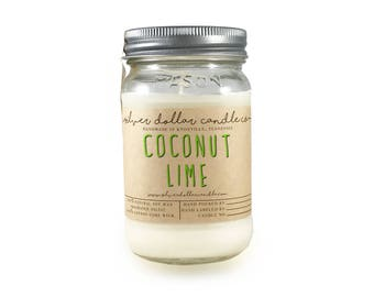 Coconut Lime Scented Candle // 16oz \ Soy Candle | Gift for Mom | Strong Scented Candles | Hand Made Candles  | Girlfriend, Mom, xmas gift