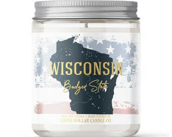 Wisconsin State Candle - Choose Any Scent - Personalized Lid - 8oz - 100% Soy Candle - State Gifts Homesick Moving New Home Scented WI