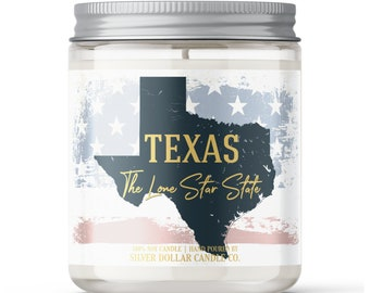 Texas State Candle - Choose Any Scent - Personalized Lid - 8oz - 100% Soy Candle - Lone Star State Gifts Homesick Moving New Home Scented