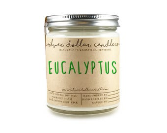 Eucalyptus 8oz Scented Natural Candle - Relaxing Soy Wax Candle, Gift for Her, Handmade, Rosemary, Aromatherapy Candle, Calm, Natural Soy