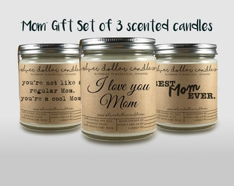 Scented Candles 8oz Mom Gift Set - GIFT SET OF 3 | Personalized for her, Mom Birthday gifts, gifts for her, Gifts for Mom, Mom Gift