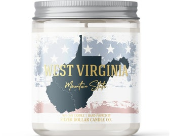 West Virginia State Candle - Choose Any Scent - Personalized Lid - 8oz - 100% Soy Candle - State Gifts Homesick Moving New Home Scented WV