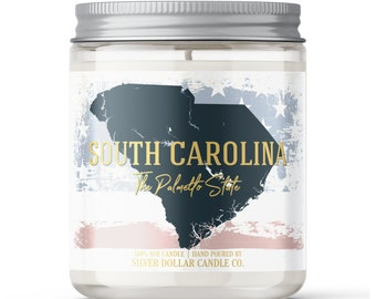 South Carolina State Candle - Choose Any Scent - Personalized Lid - 8oz - 100% Soy Candle - State Gifts Homesick Moving New Home Scented PA