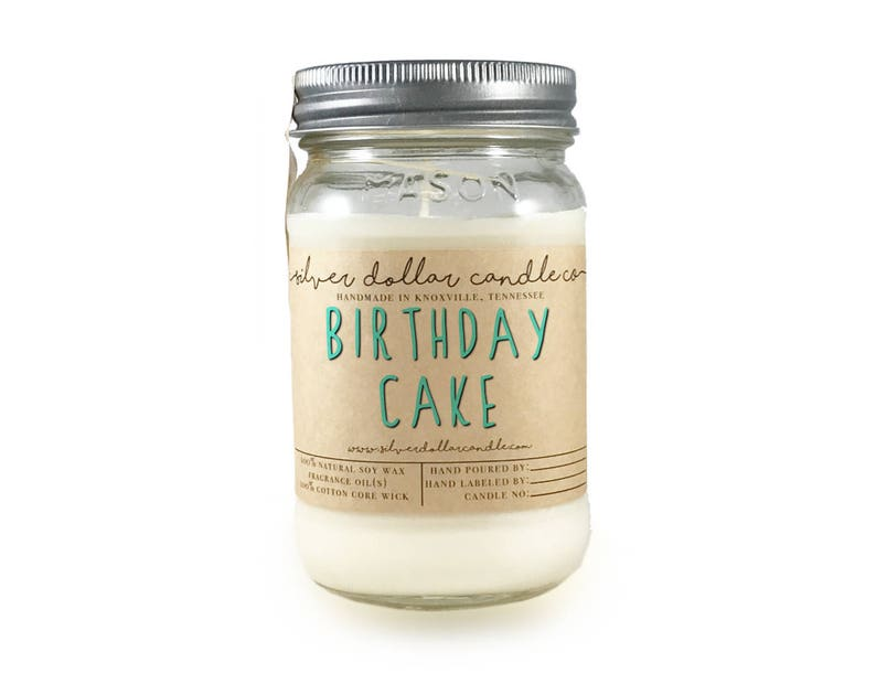 Birthday Cake Scented Candle 16oz Mason Jar Gift For Women