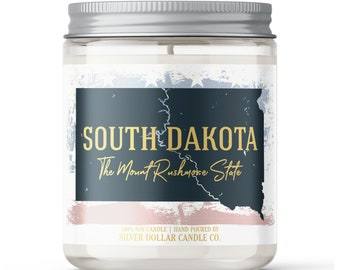 South Dakota State Candle - Choose Any Scent - Personalized Lid - 8oz - 100% Soy Candle - State Gifts Homesick Moving New Home Scented PA