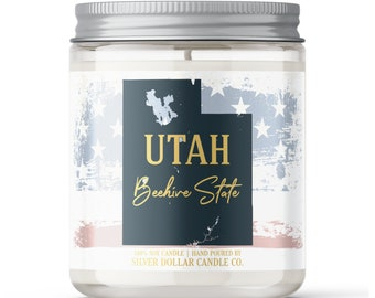 Utah State Candle - Choose Any Scent - Personalized Lid - 8oz - 100% Soy Candle - UT State Gifts Homesick Moving New Home Scented