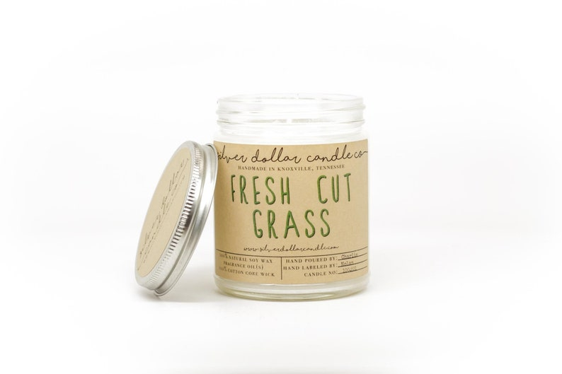 Fresh Cut Grass 8oz Scented Candle Strong Scented Candles image 0