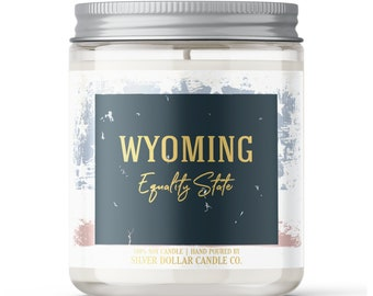 Wyoming State Candle - Choose Any Scent - Personalized Lid - 8oz - 100% Soy Candle - State Gifts Homesick Moving New Home Scented WV