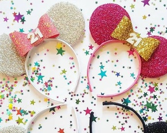 Made-To-Order Birthday Minnie Mouse Ears Disney Birthday Minnie Ears - many colour combinations!