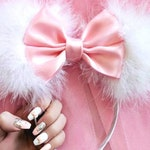 Made-To-Order Marie Inspired Mouse Ears Aristocats Headband Fluffy Minnie Ears with Satin Bow