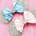 Sparkly Princess Minnie Mouse Ears with satin bow and Diamanté Crown Embellishment - Variety of colours to choose from!