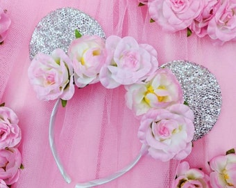 Silver Minnie Mouse ears with flower crown. Minnie Mouse headband - Festival Headbands - Fashion Headband - suitable for all ages
