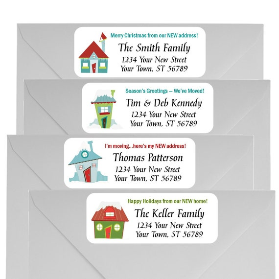 christmas we moved return address labels new home moving etsy