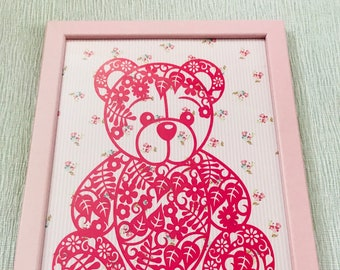 Baby picture, pink teddy picture, teddy picture for girl, nursery wall hanging, nursery, memento, keepsake, special moment