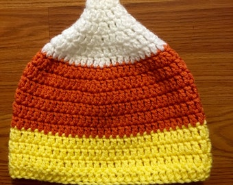 Candy corn crochet hat