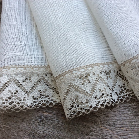 White Kitchen Curtains Farmhouse Curtains Linen Cafe Currtains Custom Size Rustic Curtains Handmade Eco Friendly Linen And Lace