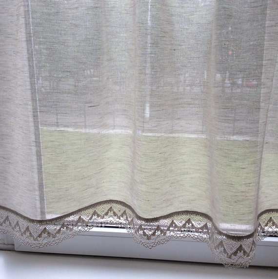 Cucina Cafe tende mantovane lino naturale grigio tela tenda pannelli Eco  amichevole tende Casale rustico di teli di lino