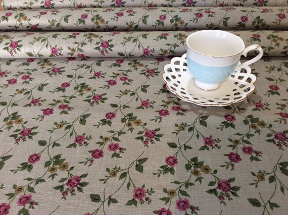Round Tablecloths Floral Linen Rustic Table Cloth Vintage Etsy