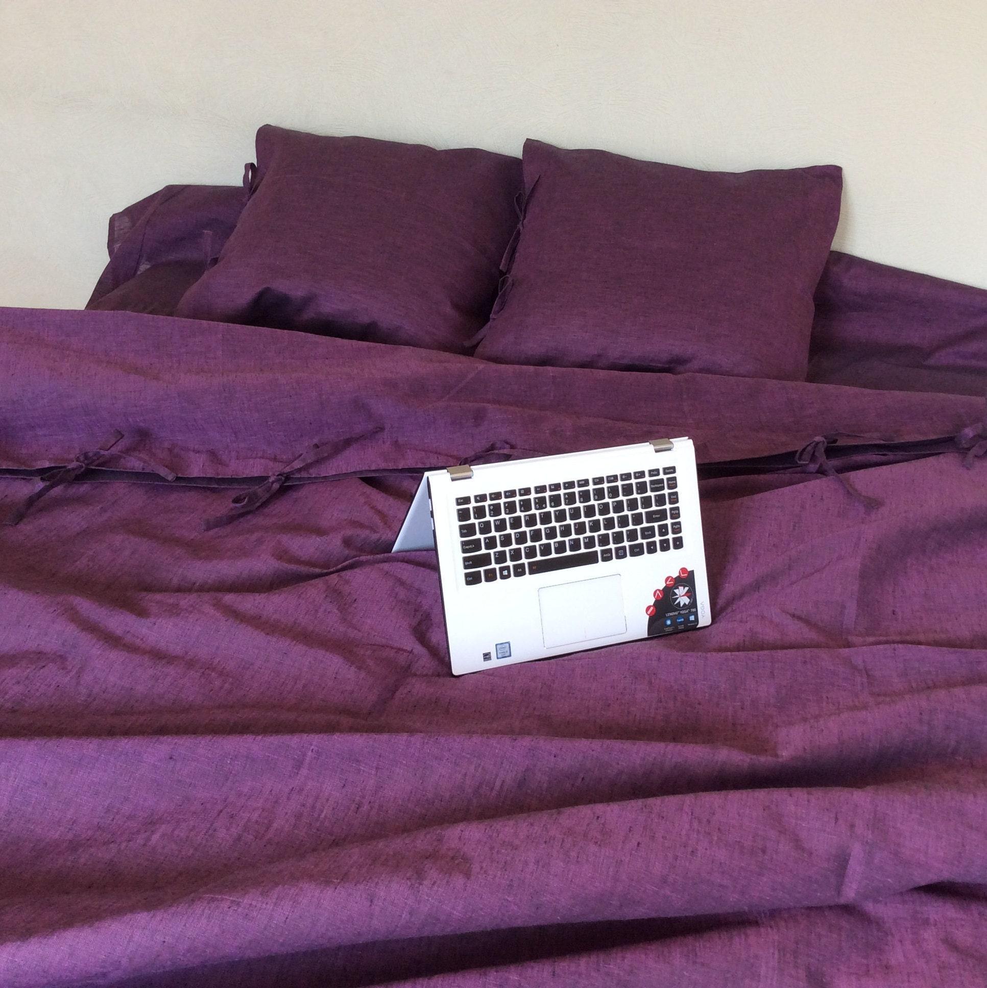 Bohemian Duvet Cover In Purple Softened Linen Bedding Etsy