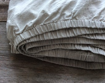 Organic Linen Fitted sheets Rustic Linen Bedding Washed Natural Gray Linen Flax Custom size Eco friendly linen Softened Cal King