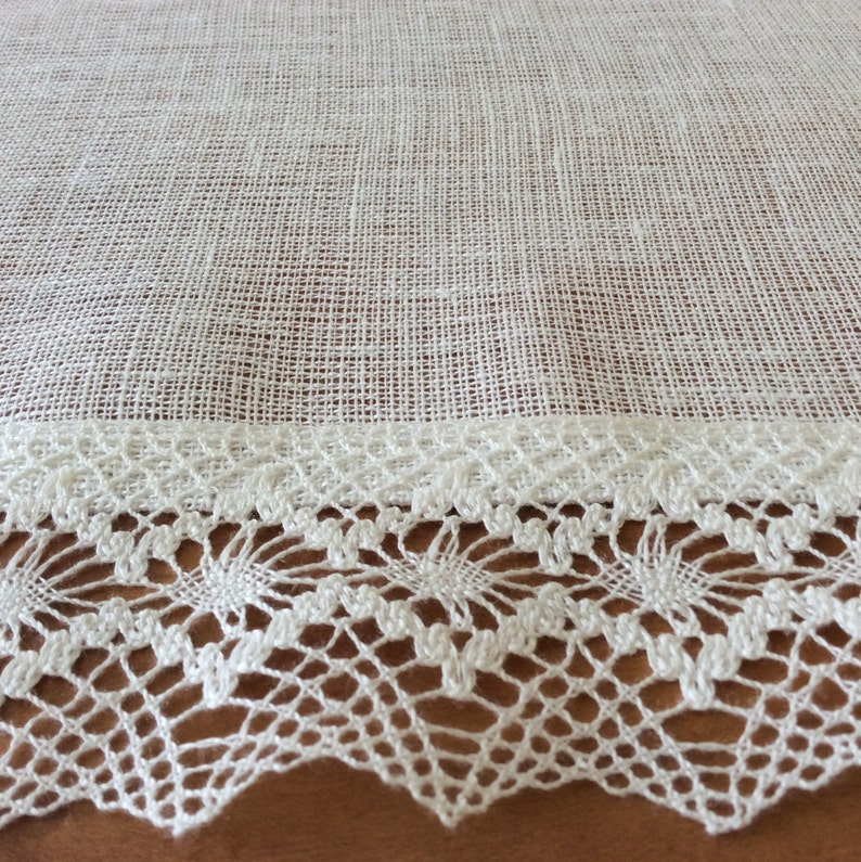 Kitchen Curtains White linen Curtain Panels with Lace ...