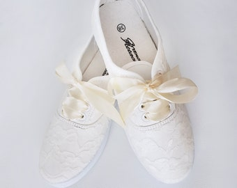 Hand Painted and Decorated Lace Sneakers Wedding Shoes Bridal Just Married  Birthday Party Even Gift for Friend 5ee91d590e87