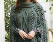 PDF Knitting Pattern - Ladies Cabled Poncho or Cape in Aran wool To fit 32-42 quot Busts - Instant Download