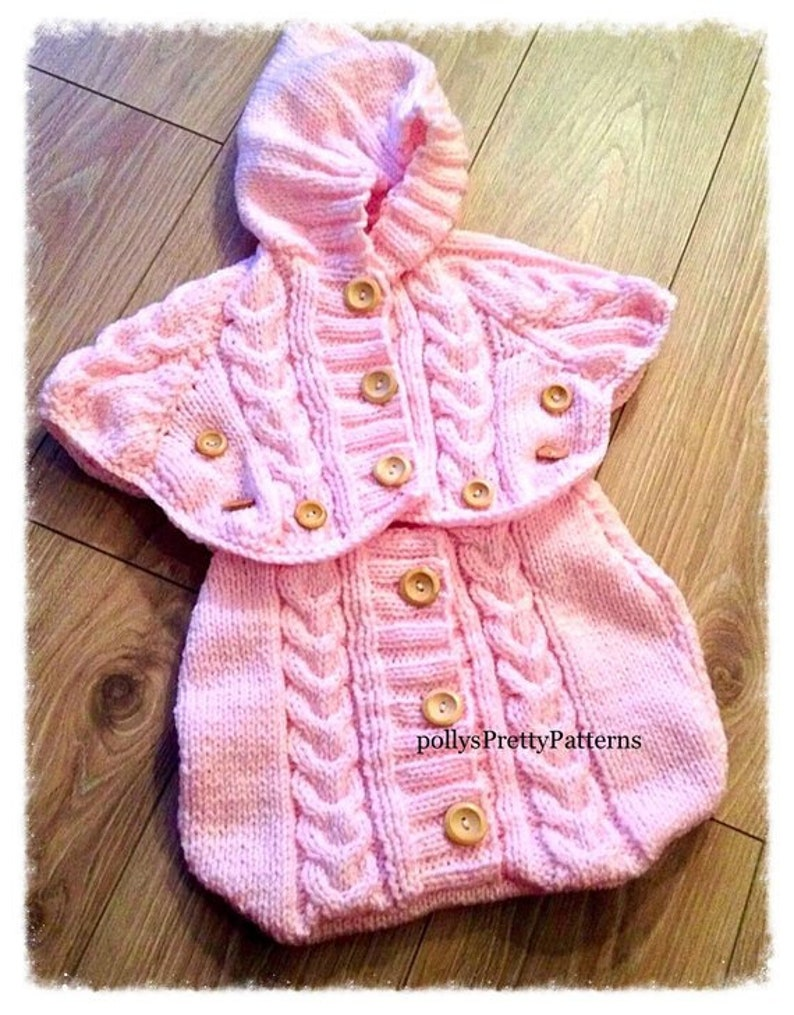 Instant Download PDF Knitting Pattern Baby/'s Chunky Knit Sleeping bagSack or Cocoon /& Dressing Gown