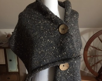 Hand-knit 3 Button Wool Wrap