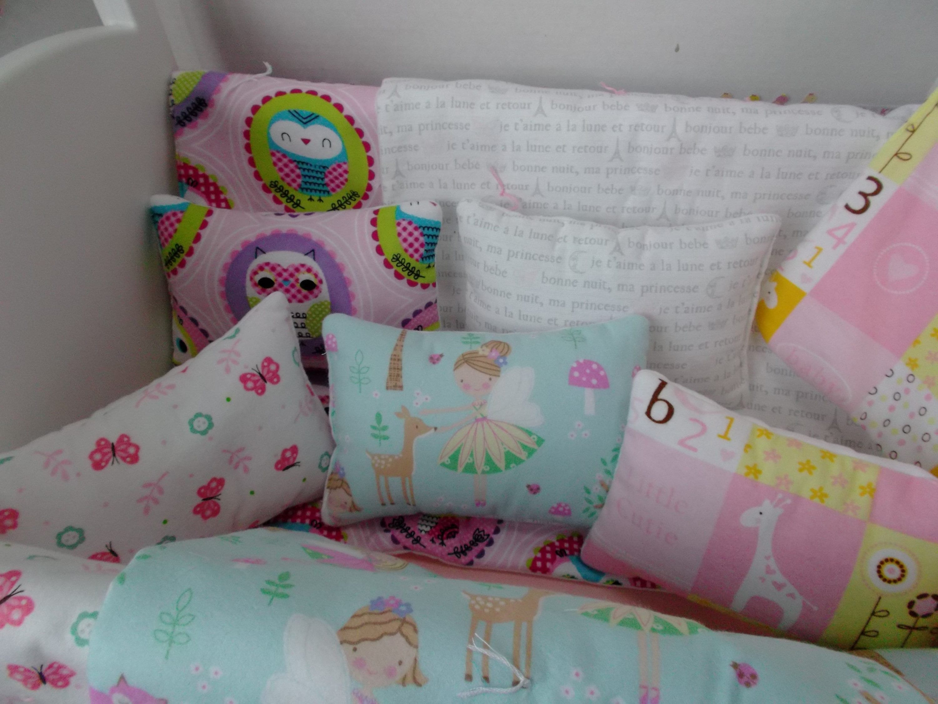 Doll 2 Piece Quilt Set Fabric Options Shown On Bitty Baby Crib All Cotton Fabrics Replacement Quilt And Pillow Set Ships Next Day