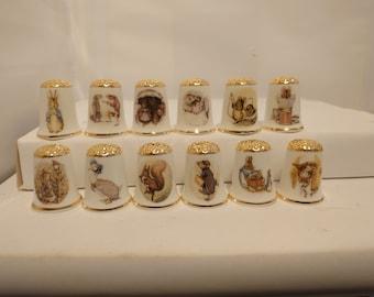 Set of 12 Beatrix Potter Design Thimbles