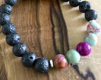 Essential Oil Diffuser Bracelet - Aromatherapy on the Go!..... Lava Stone & Purple/Turquoise Sediment Jasper