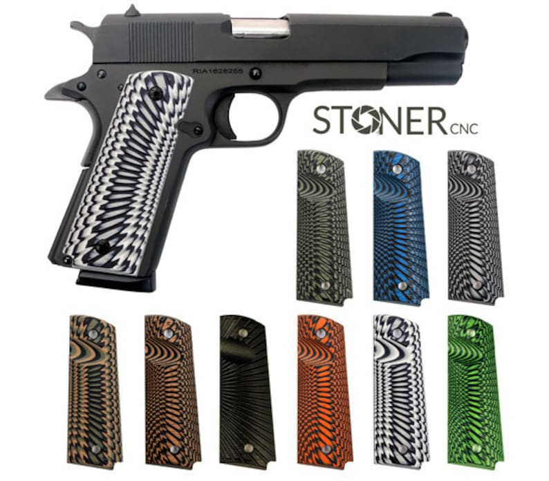 1911 Starburst Pistol Grips G10 Full Size, Compact, Springfield EMP & Sig  GSG - Options For Every 1911 Magwell Bobtail Round Butt