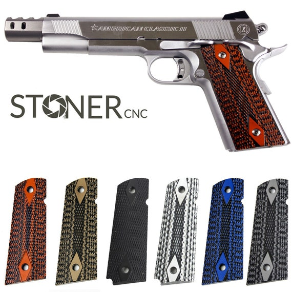 1911 Gun Grips G10 Double Diamond Pistol Full Size, Compact, Springfield  EMP & Sig GSG - Options For Every 1911 Magwell Bobtail Round Butt