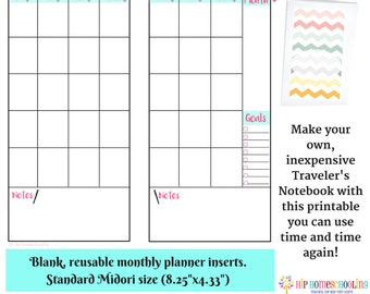2016 monthly planner notebook insert travelers notebook etsy
