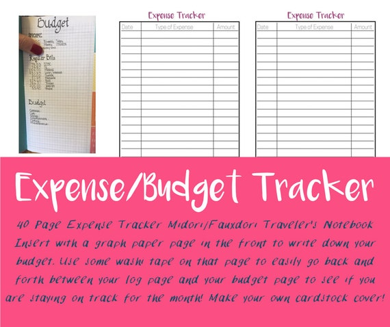 40 page budget insert expense tracker travelers notebook etsy