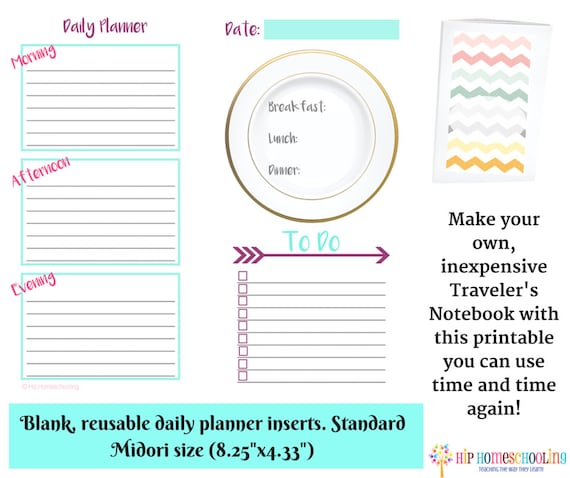 reusable 30 page daily planner insert blank traveler s etsy